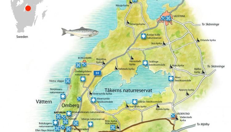 omberg karta Sights of Interest around Lake Tåkern and Omberg   Östgöta Dal omberg karta
